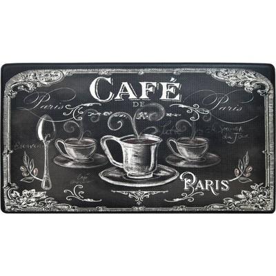 "Home Dynamix 19"" x 35"" Cafe Kitchen Mat Back/White"