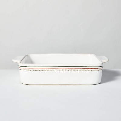 """9"""" x 13"""" Holiday Stripes Stoneware Baking Dish Red/Green - Hearth & Hand™ with Magnolia"""
