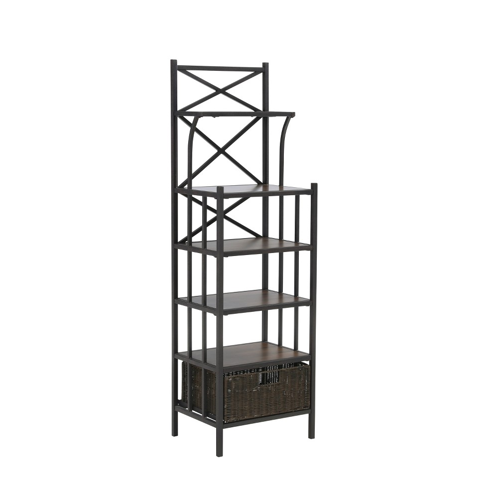 Scorcham Bakers Rack Tower Rustic Brown With Dark Distressed Pine - Aiden Lane