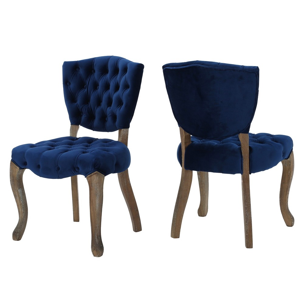 Bates Tufted Dining Chair (Set of 2) - Navy Blue - Christopher Knight Home