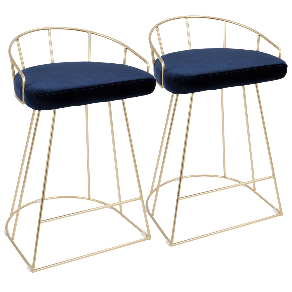 Set of 2 Lumisource Canary Contemporary Counter Stool Blue