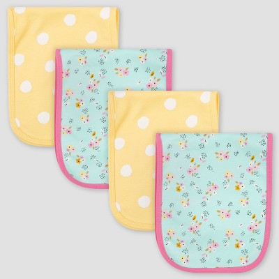Gerber Baby Girls' 4pk Bear Interlock and Terry Burp Cloth Set - Blue