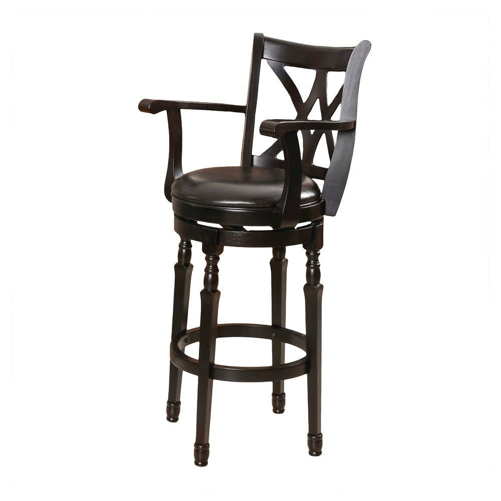Eclipse Armed Swivel 30.5 Barstool Black - Christopher Knight Home