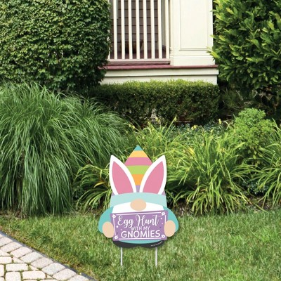 Big Dot of Happiness Easter Gnomes - Outdoor Lawn Sign - Spring Bunny Party Yard Sign - 1 Piece
