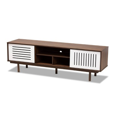 "70"" TV Stand Meike Two-Tone Wood Walnut/White - Baxton Studio"