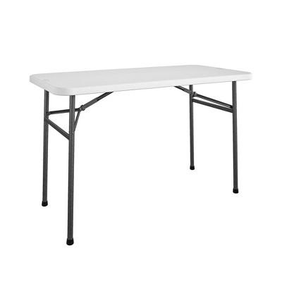 4' Straight Folding Multi-Purpose Utility Table White - Room & Joy