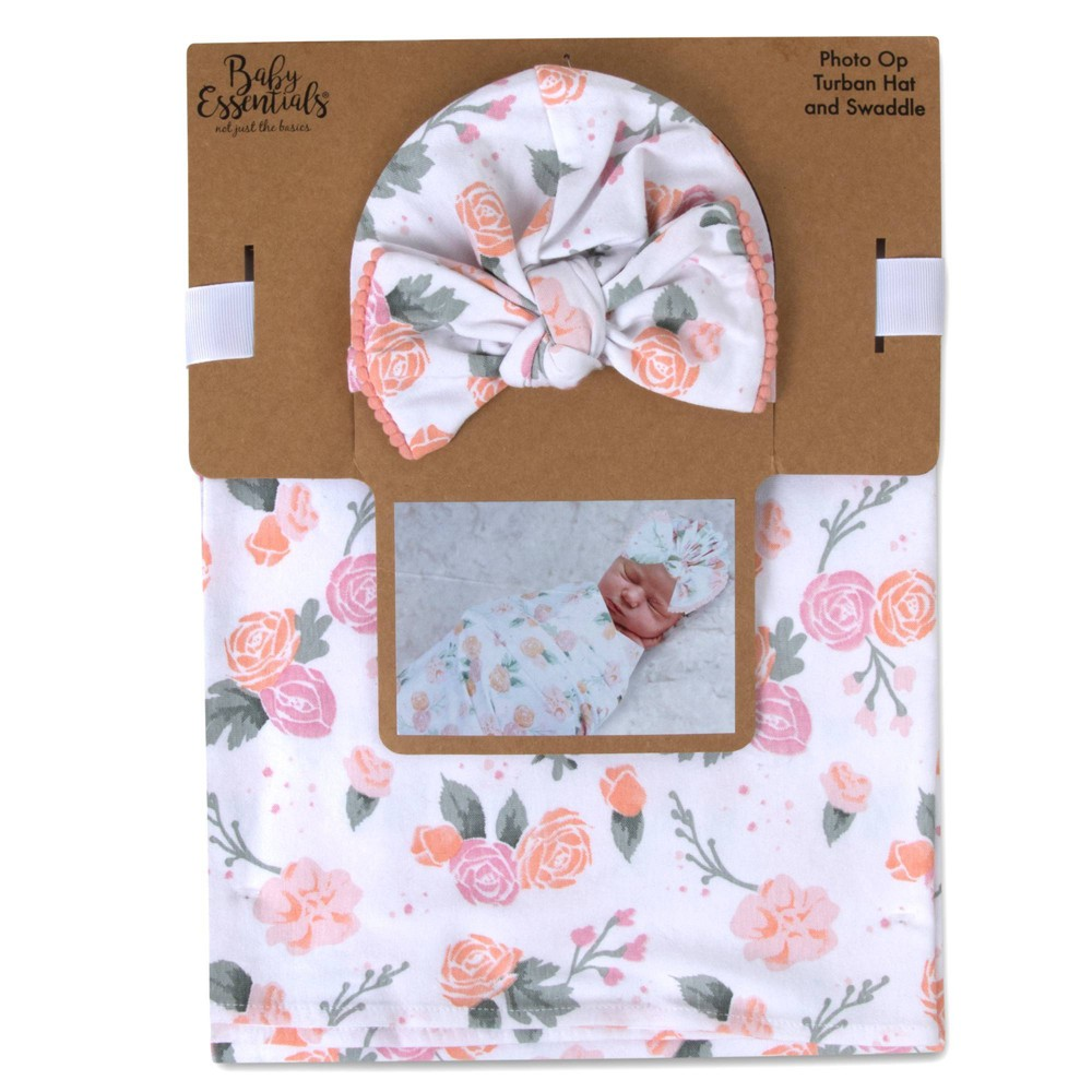 Image of Baby Essentials Floral Swaddle Blanket with Turban Cap