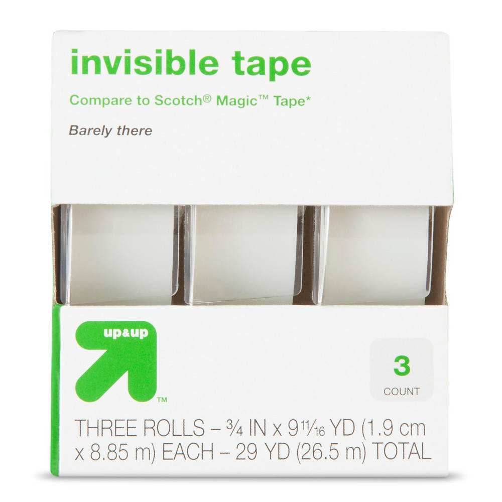 Invisible Tape 3ct (Compare to Scotch Magic Tape) - Up&Up, Clear Wrap a gift, repair an important document and more with the Invisible Tape, 3/4  x 400 , 3pk from up and up. This 3 pack of clear tape is great for stocking up a home office.