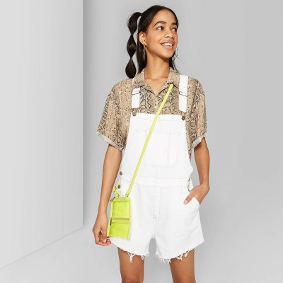Women's Short Sleeve Oversized Boxy Overalls   Wild Fable White by Wild Fable White