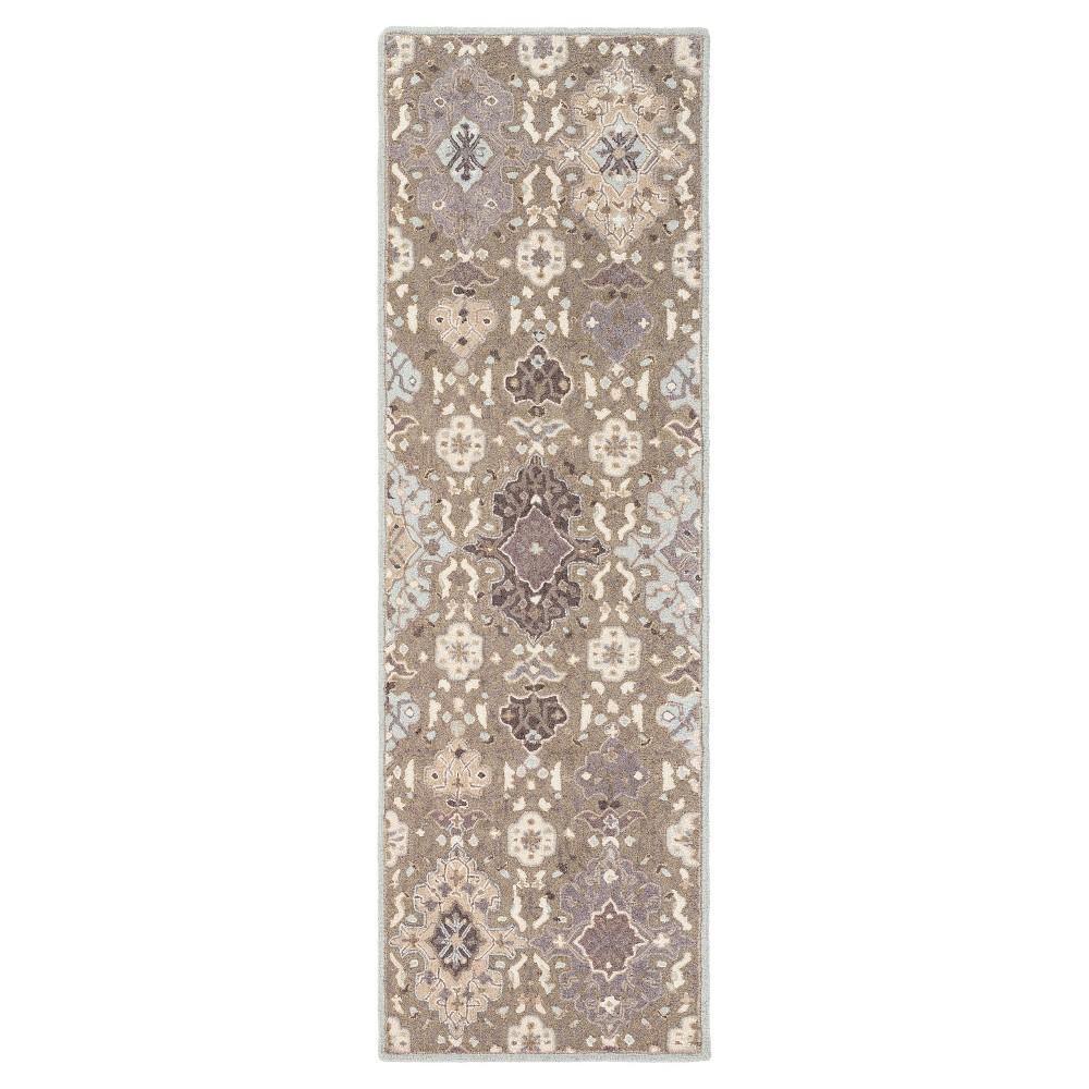 Taupe (Brown)/Light Gray Parthian Damask Rug (2'6x8') - Surya