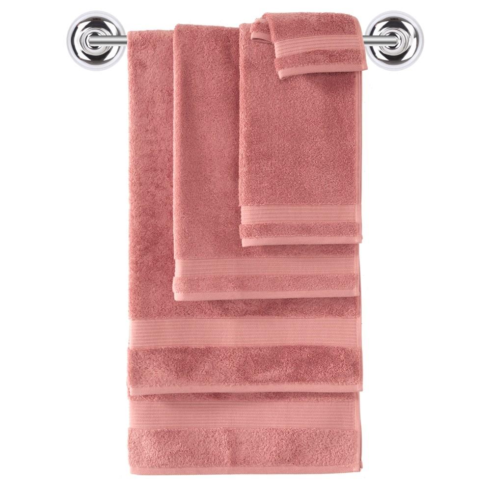 Image of 6pc Amadeus Turkish Bath Towel Set Pink Salmon - Makroteks, Pink Pink