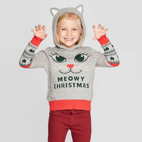 Christmas Ugly Sweater.Well Worn Toddler Girls Meowy Christmas Ugly Sweater Gray