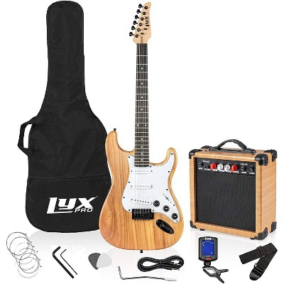 LyxPro Electric Guitar 39'' inch Full Beginner Starter kit Full Size with 20w Amp, Package Includes All Accessories, Digital Tuner, Strings, Picks, Tremolo Bar, Shoulder Strap, and Case Bag - Natural