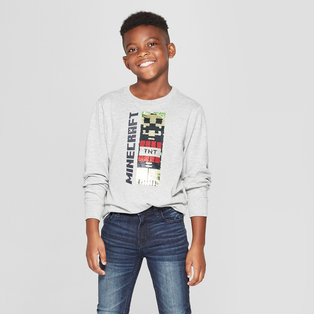 Boys' Minecraft Flip Sequin Long Sleeve T-Shirt - Gray XS