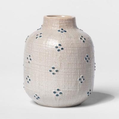 4  x 3.3  Stoneware Matte Bud Vase White/Blue - Threshold™
