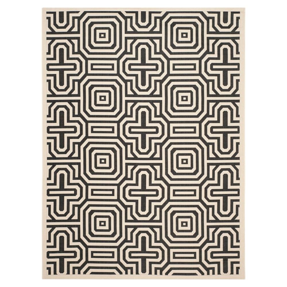 Linz 8' x 11' Outdoor Rug Sand/Black (Brown/Black) - Safavieh
