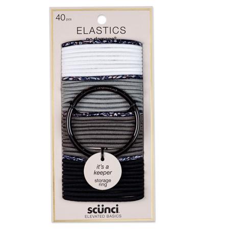 Scunci 4mm No Damage Elastics with Bonus Ring Holder - 40pc - image 1 of 2