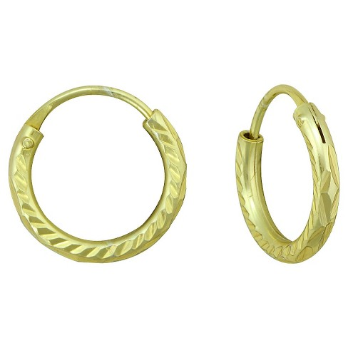 Girls' Gold Over Sterling Silver Small Diamond Cut Endless Hoop Earring - image 1 of 1