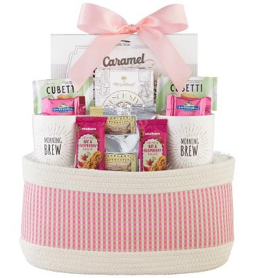 1-800-Baskets Coffee Gift Basket, includes 2 White Stoneware Mugs, Ghirardelli Chocolate and French Ground coffee