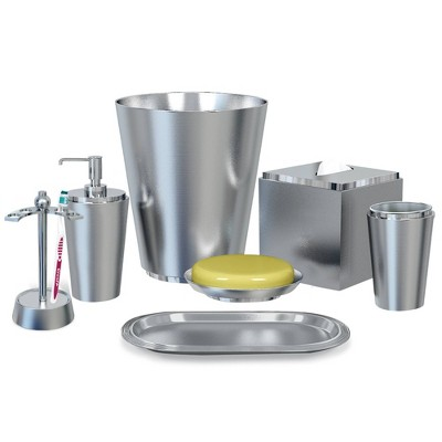 7pc Kingston Bath Accessory Set for Vanity Counter Tops Brushed Nickel - Nu Steel