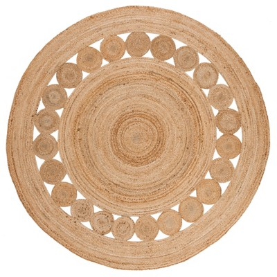 6' Solid Woven Round Area Rug Natural - Safavieh