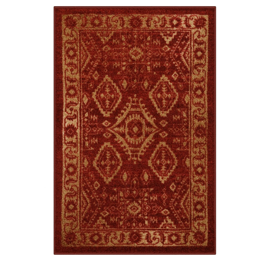 "Image of ""2'6""""X3'10"""" Tribal Design Tufted Accent Rug Red - Maples"""