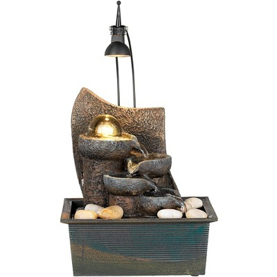 """John Timberland Japanese Zen Indoor Tabletop Water Fountain with Light LED 10"""" High Cascading for Table Desk Office Home Bedroom"""