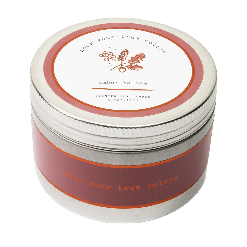 Image of 4.1oz Lidded Tin Candle Amber Balsam - Happy Place, Burgandy
