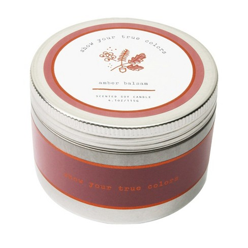 4.1oz Lidded Tin Candle Amber Balsam - Happy Place - image 1 of 2