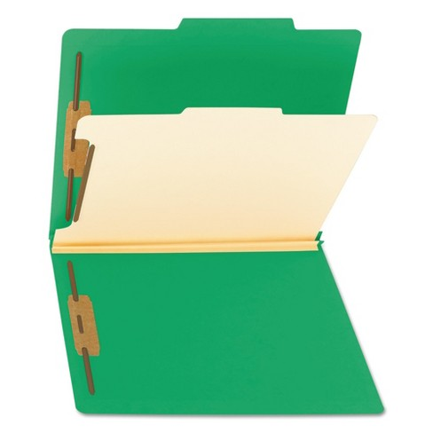 Smead® Top Tab Classification Folder, One Divider, Four-Section, Green, 10/Box - image 1 of 6