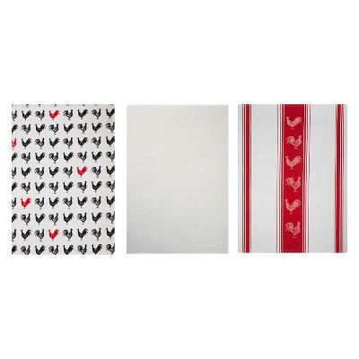 3pk Striped Kitchen Towel Red/White - MU Kitchen