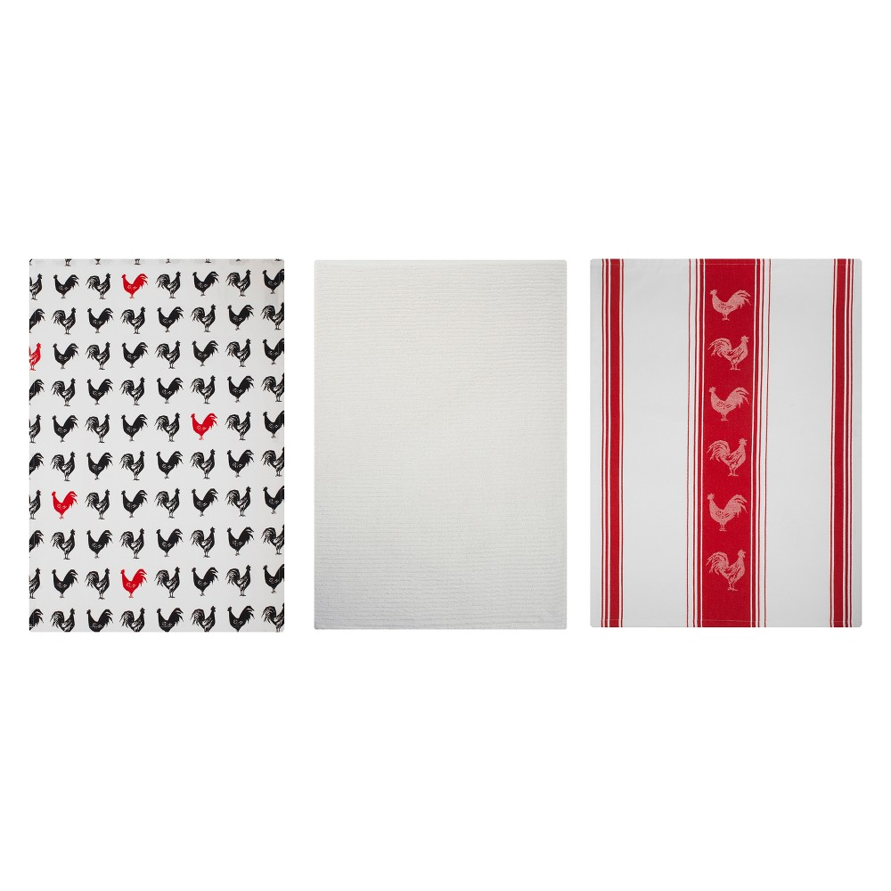 Kitchen Towel Print/Stripe/Solid Red And White Set of 3 - Mu Kitchen, Multi-Colored