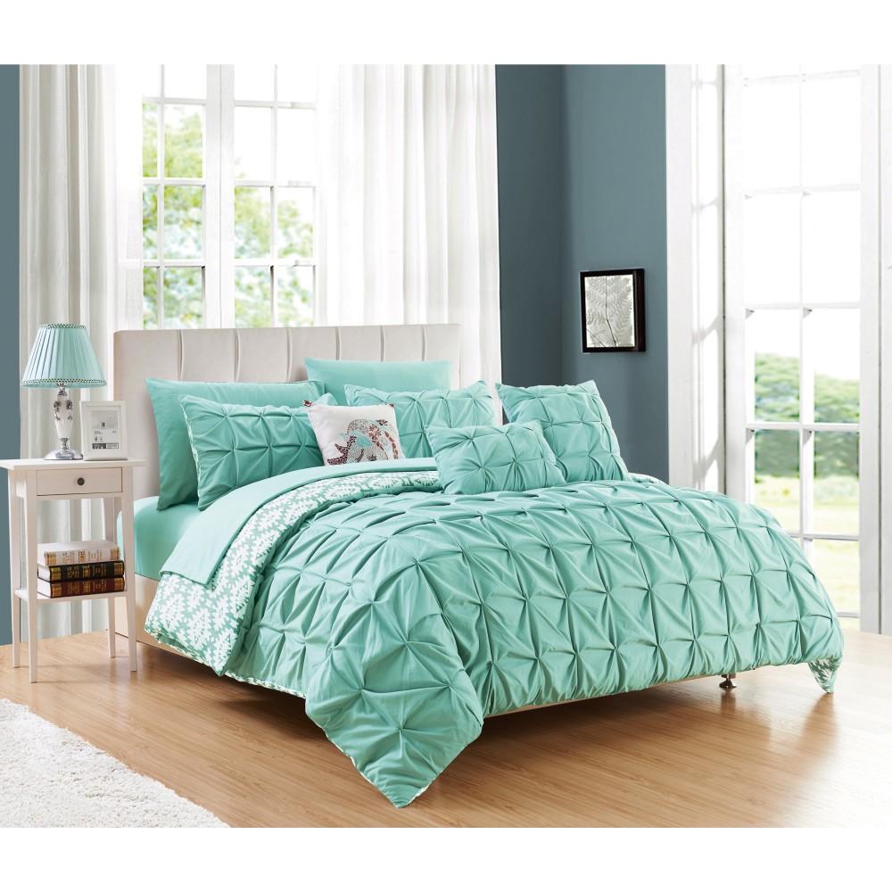 King 10pc Yabin Bed In A Bag Comforter Set Aqua (Blue) - Chic Home