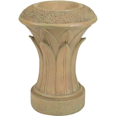 """Sunnydaze Tropical Leaves Indoor/Outdoor Column-Style Gazing Globe Stand for 10"""" to 12"""" Garden Spheres - 14"""" H - Autumn Leaf"""