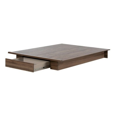 Full/Queen Lensky Platform Bed with Drawer Natural Walnut - South Shore