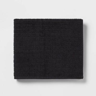 Grid Texture Bath Towel Black - Room Essentials™