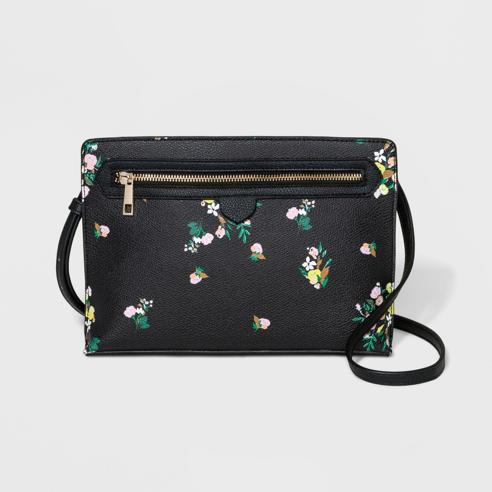 Floral Tab Zipper Crossbody Bag - A New Day Black, Women's