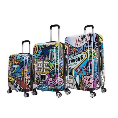 InUSA Lightweight Hardside Spinner 3pc Luggage Set - Cities