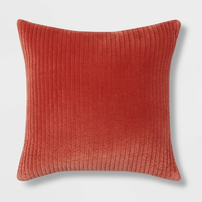 Oversized Quilted Cotton Velvet Square Throw Pillow Berry - Threshold™