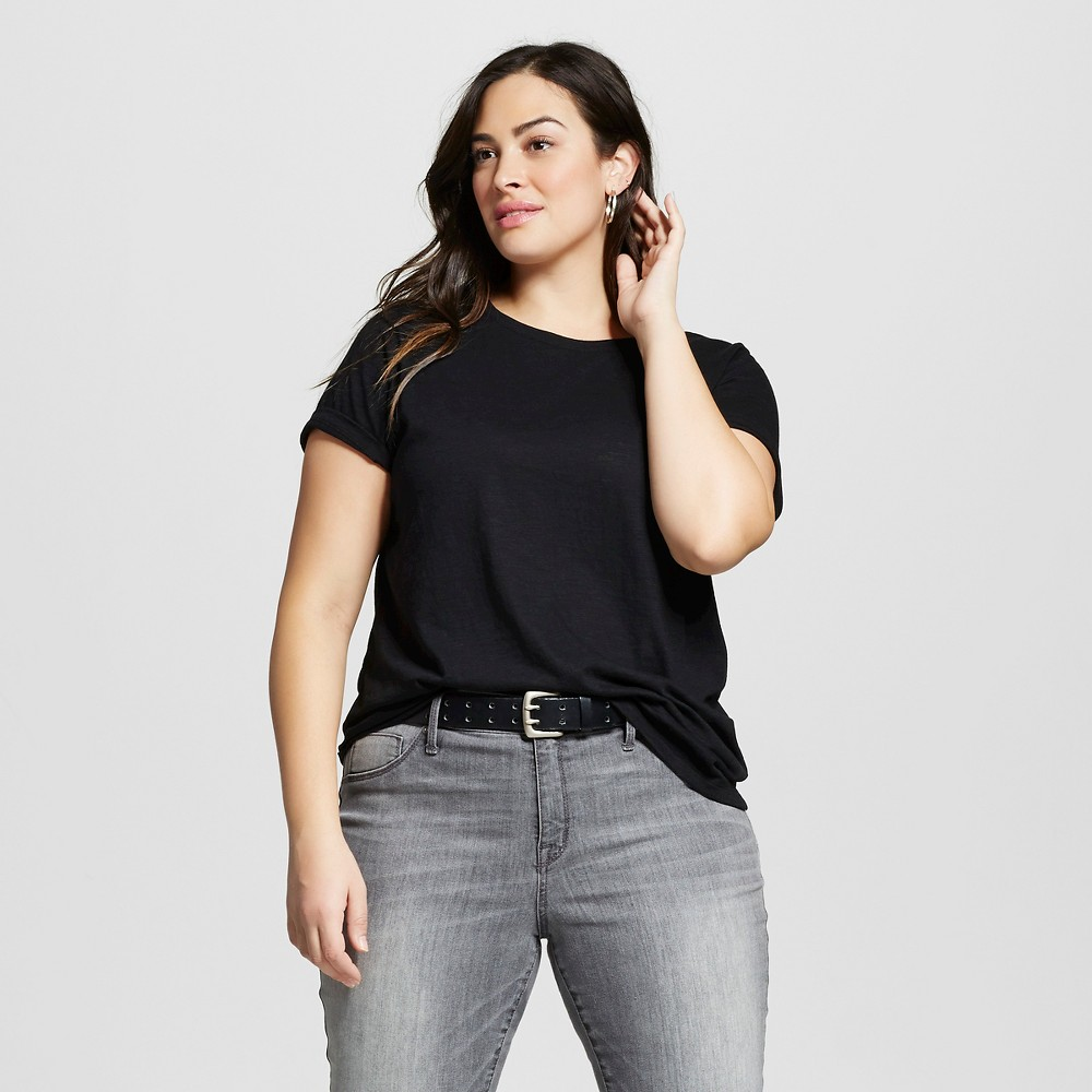 Women's Plus Size Crew Neck T-Shirt - Ava & Viv Black 1X