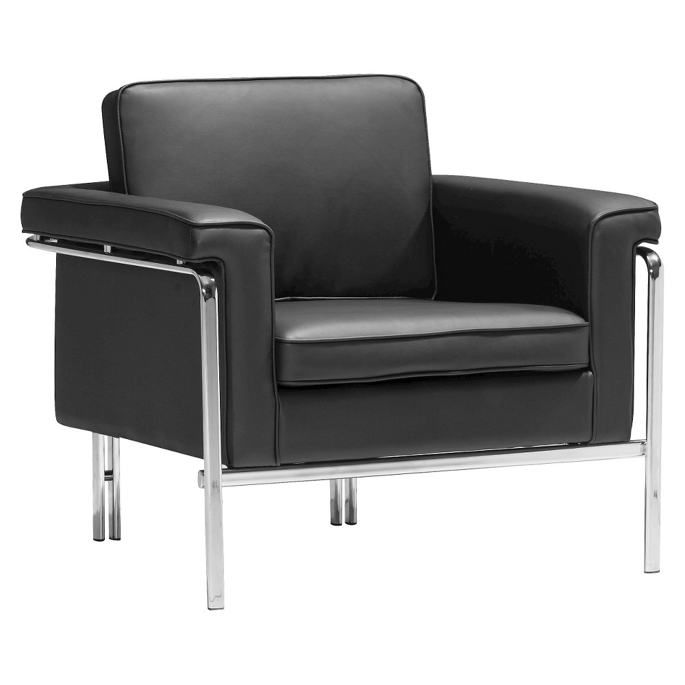 Modern Faux Leather and Chrome Arm Chair - ZM Home, Black