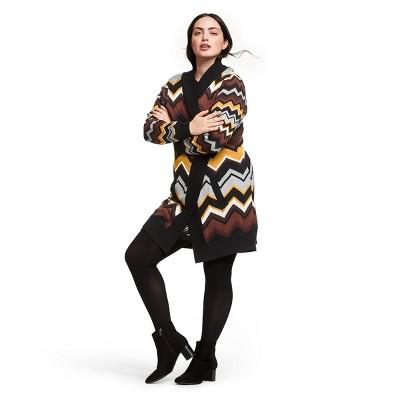 Women's Plus Size Zig Zag Stripes Patchwork Long Sleeve Open Cardigan   Missoni For Target Black/Brown by Missoni For Target Black/Brown