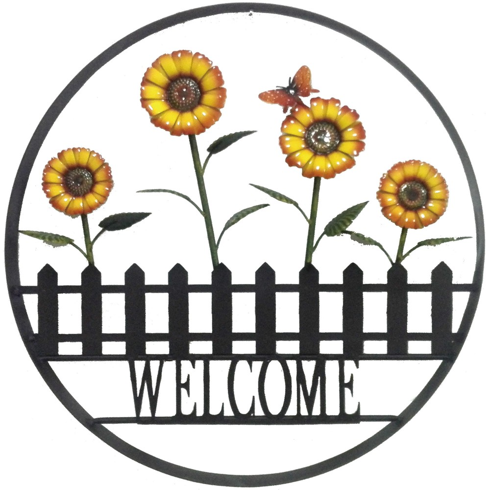 Image of 24H Metal Outdoor Floral Wall Art - Yellow - Backyard Expressions, Brown