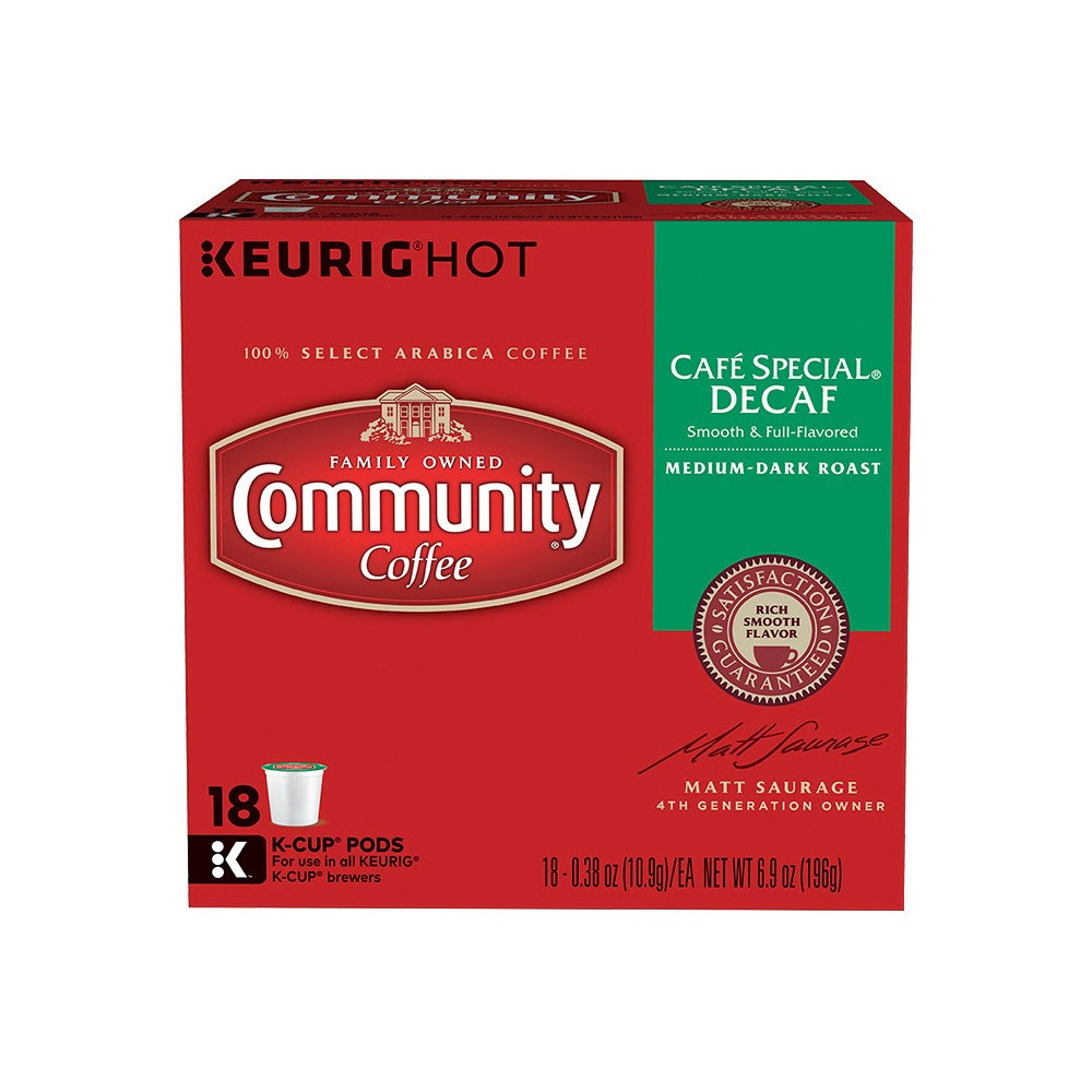 Community Coffee Cafe Special Medium Dark Roast - Decaf - Keurig K-Cup Brewer Compatible Pods - 18ct