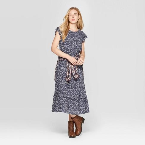 Women's Floral Print Sleeveless Crewneck Ruffle Maxi Dress - Universal Thread™ Blue - image 1 of 3