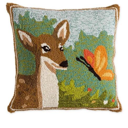 Indoor Outdoor Springtime Forest Hooked Deer 18 Sq Pillow Plow