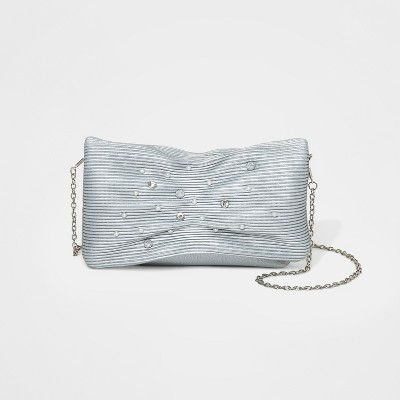 Estee & Lilly Pearl/Stone Flap Clutch - Silver