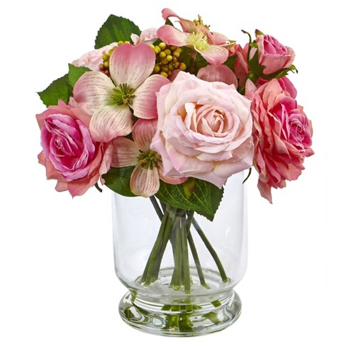 "Rose and Berry Arrangement (10"") Pink - Nearly Natural - image 1 of 2"