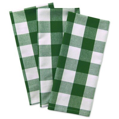 3pk Cotton Buffalo Check Dishtowels Green - Design Imports