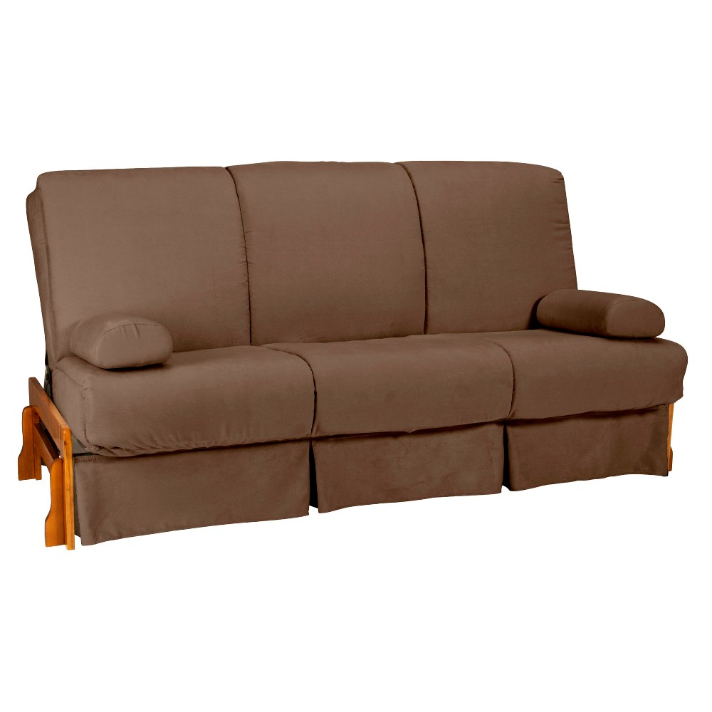 Low Arm Perfect Futon Sofa Sleeper - Oak Wood Finish - Epic Furnishings, Mocha Brown